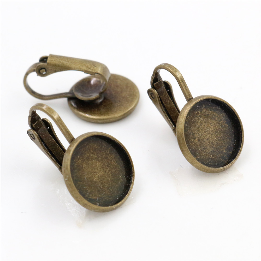 12mm 10pcs Antique Bronze Plated French Lever Back Earrings Blank/Base,Fit 12mm Glass Cabochons,Buttons;Earring Bezels (L5-41)