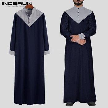 INCERUN ערבית קפטן אסלאמי מוסלמי גברים צווארון עומד טלאי רטרו Jubba Thobe ארוך שרוול גברים הודי בגדי חלוק S-5XL 2020