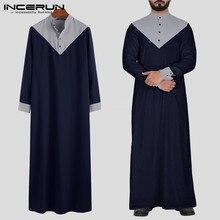 INCERUN árabe Islamic Kaftan musulmán de cuello alto Patchwork Retro Jubba Thobe de manga larga para hombres ropa India Robe S-5XL 2020
