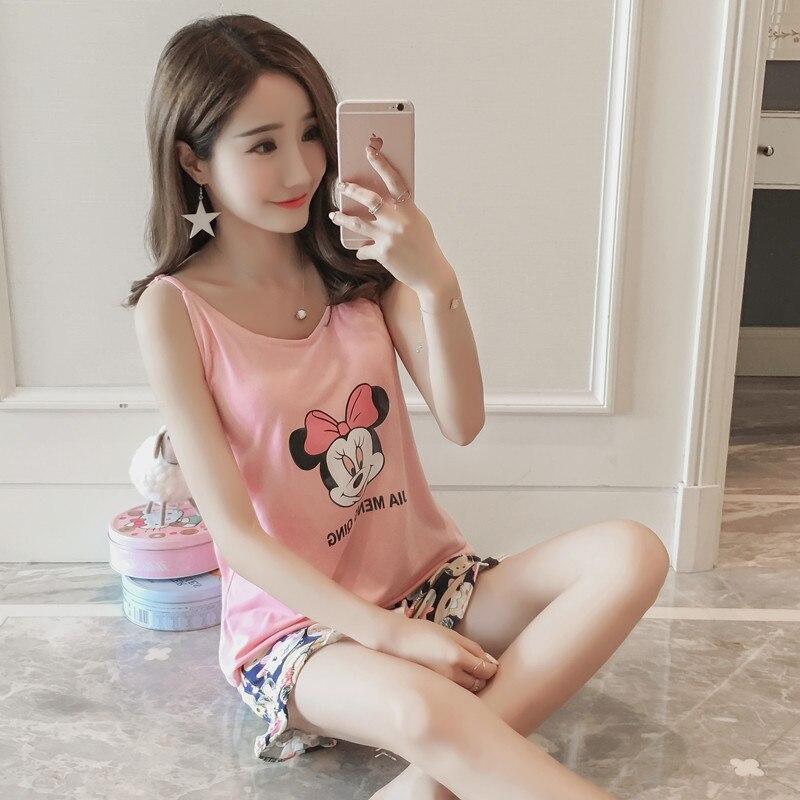 With Chest Pad Pajamas Women's Summer Short-sleeved Camisole Set Korean-style Cute Cartoon GIRL'S Pajamas Homewear Set