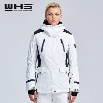 Chaqueta de esquí WHS para mujer, ropa deportiva de invierno para exteriores de algodón para nieve, abrigo cálido, chaqueta blanca resistente al agua y al viento