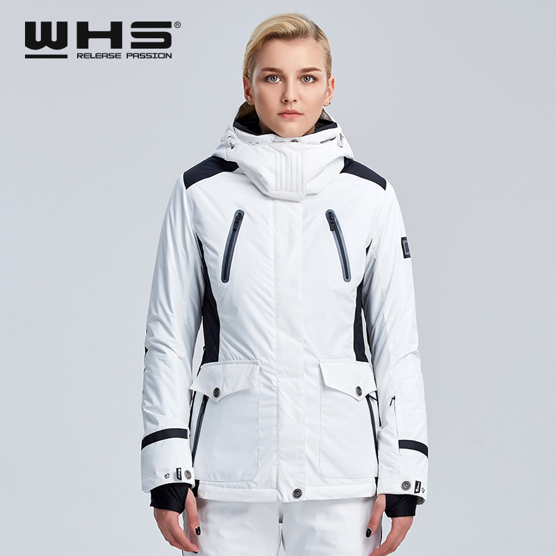 WHS  Ski Jacket Women Winter Outdoor Snow Cotton Sportswear Warm Coat Waterproof And Windproof White Jacket