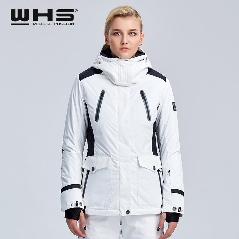 WHS  Ski Jacket Women Winter Outdoor Snow Cotton Sportswear Warm Coat Waterproof And Windproof White Jacket