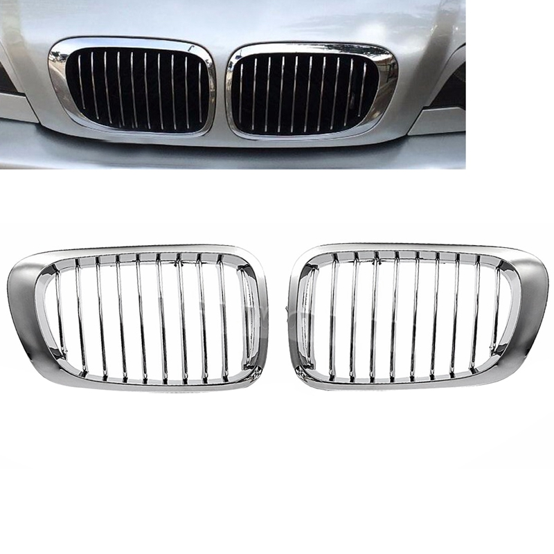 Car Front Bumper Chrome-Plated Kidney Intake <font><b>Grille</b></font> Grill for <font><b>Bmw</b></font> <font><b>E46</b></font> 325Ci 330Ci 3 Series <font><b>M3</b></font> 2 Doors 1999 2000 2001 2002 2003 2 image