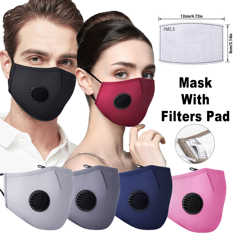 Unisex Anti-Dust Mouth Mask Washable Respirator Mouth-muffle Cotton Face Masks With 5 Layers PM2.5 Activated Carbon Filter Pad