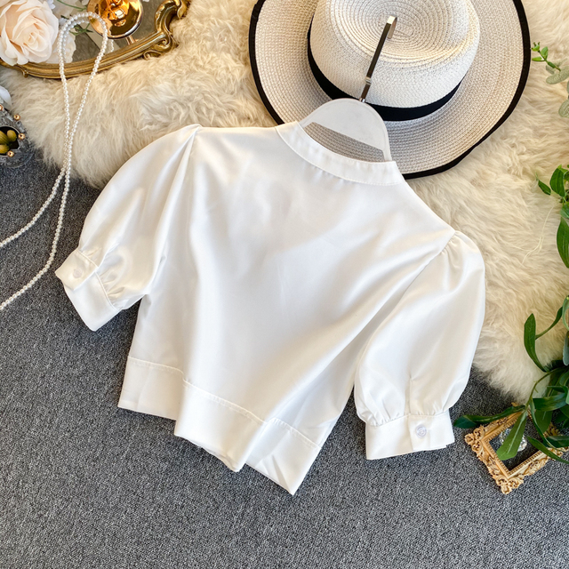 Women's Hollow Short Puff Sleeve Short Crop Tops Lady Round Neck Sexy Shirt  Camisas Mujer  Blusas Mujer De Moda Blouse K693 4