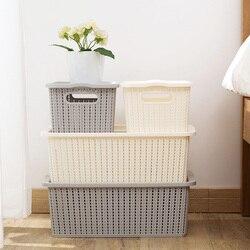 1 sztuk imitacja rattanu ubrania pojemnik do przechowywania bielizny kosz na bieliznę z pokrywa z tworzywa sztucznego duża zabawka pojemnik do przechowywania szafa organizator na