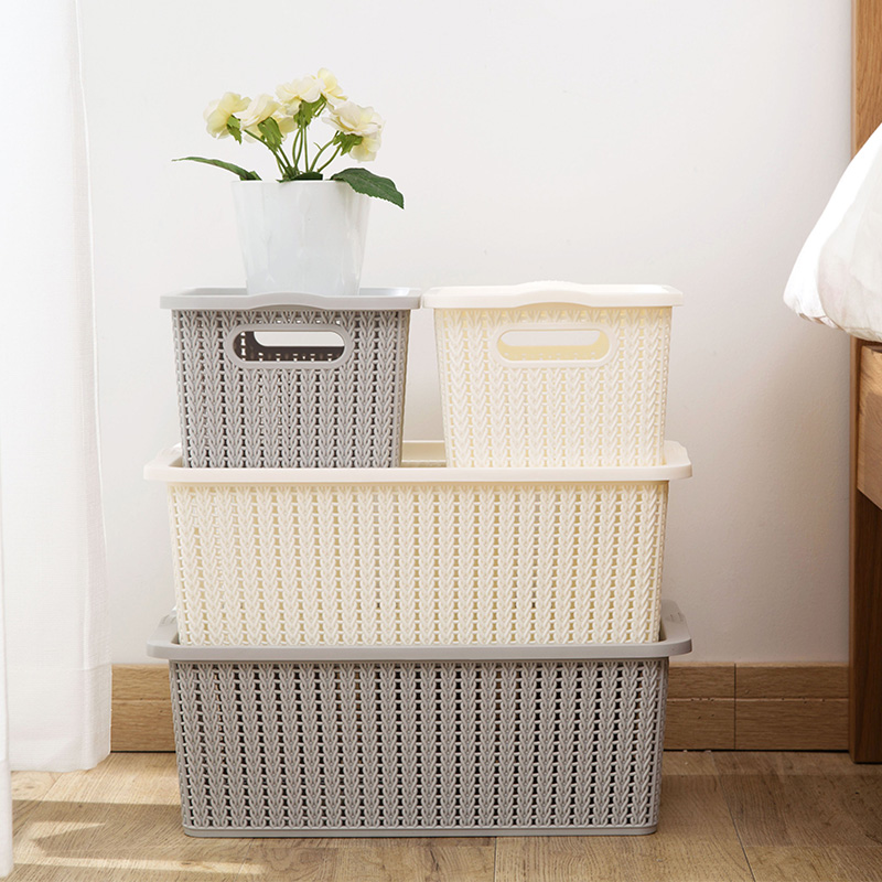 1Pcs Imitation Rattan Clothes Underwear Storage Box Basket With Cover Plastic Large Toy Storage Container Wardrobe Organizer