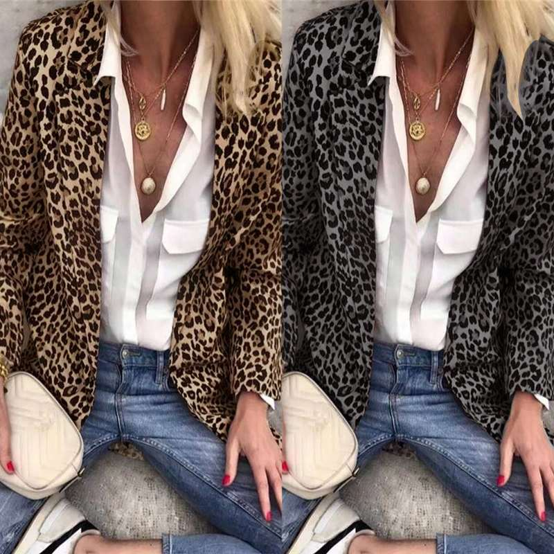 2019 Sexy Leopard Print Women Long Sleeve Blazers ZANZEA Female Turn Down Jackets Elegant Lady Suits Coats Outwear Overcoats 5XL