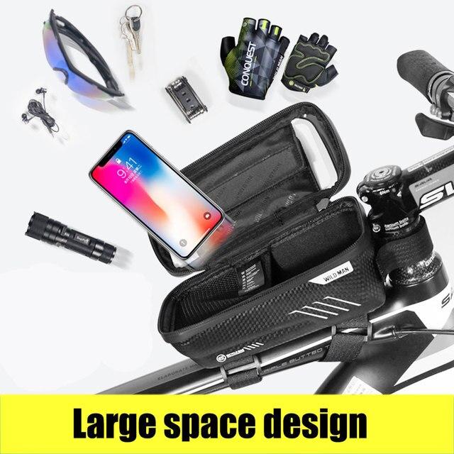 Saco de bicicleta frente à prova dwaterproof água ciclismo saco 6.2 polegada do telefone móvel bicicleta superior tubo guiador sacos mountain ciclismo acessórios 3