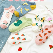 New Cartoon Fruit Ankle Socks Women Cotton Colored Short Socks Female Casual Summer Thin Boat Socks Fashion Hipster