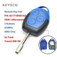 Дистанционный ключ Keyecu 6C1T15K601AG, 3 кнопки, 433 МГц, 4D63 для Ford Transit WM VM 2006 2007 2008 2009 2010 2011 2012 2013 2014
