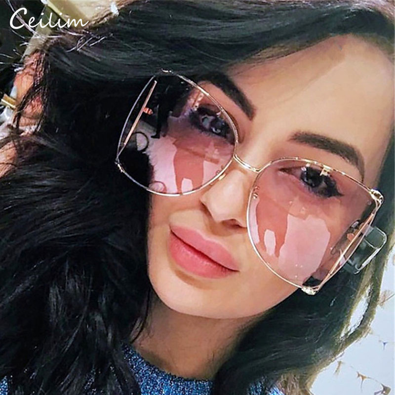Mode Übergroßen Sonnenbrillen Frauen 2020 Marke Designer Großen Platz Sonnenbrille Perle Dekoration Cat Eye Shades Schmetterling Brillen