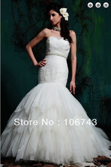 Free Shipping 2016 New Bridal Gown Bride Dress Vestidos Formales Long White Dress Plus Size Mermaid Corset White Wedding Dresses