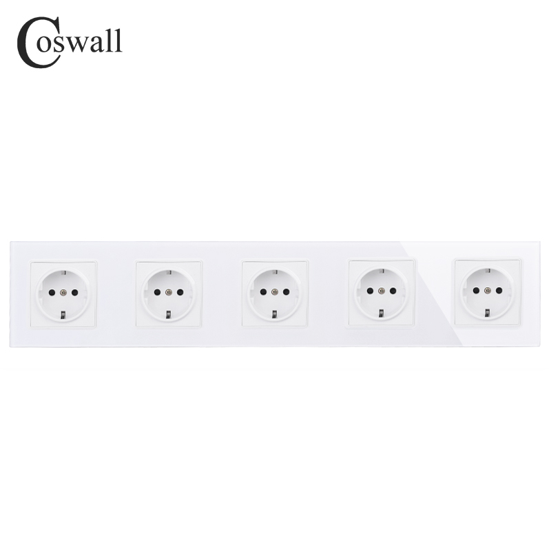 COSWALL Wall Crystal Glass Panel 5 Gang Power Socket Grounded 16A EU Standard Quintuple Outlet With Children Protection Door