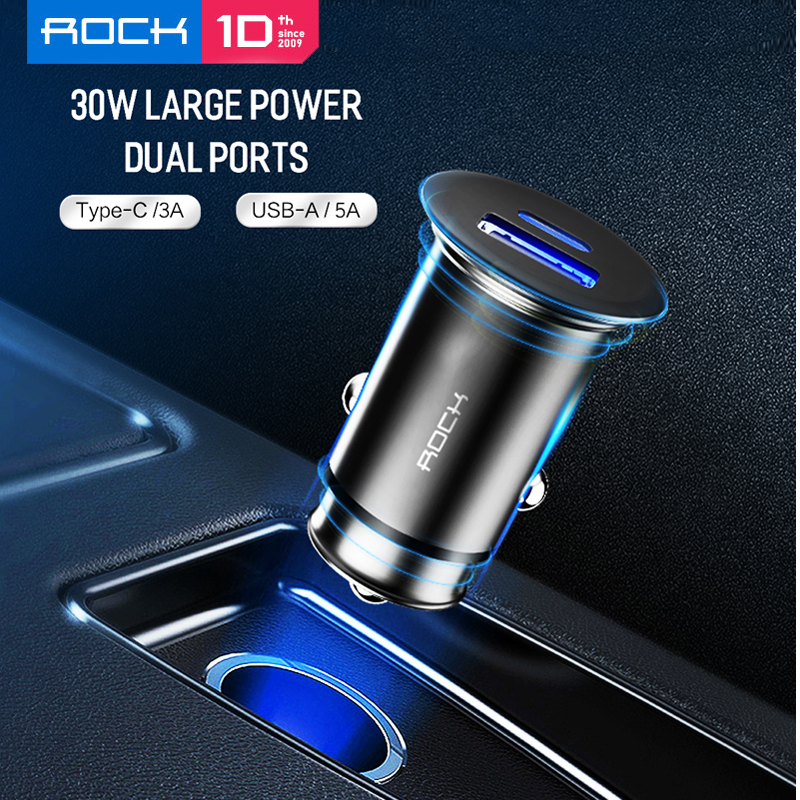 ROCK 30W <font><b>USB</b></font> PD QC4.0 3.0 Dual <font><b>USB</b></font> <font><b>Car</b></font> <font><b>Charger</b></font> Quick Charge Metal Mini SCP VOOC 4 in 1 <font><b>Car</b></font> <font><b>Charger</b></font> 2 Port 30W for iPhone/<font><b>Samsung</b></font> image