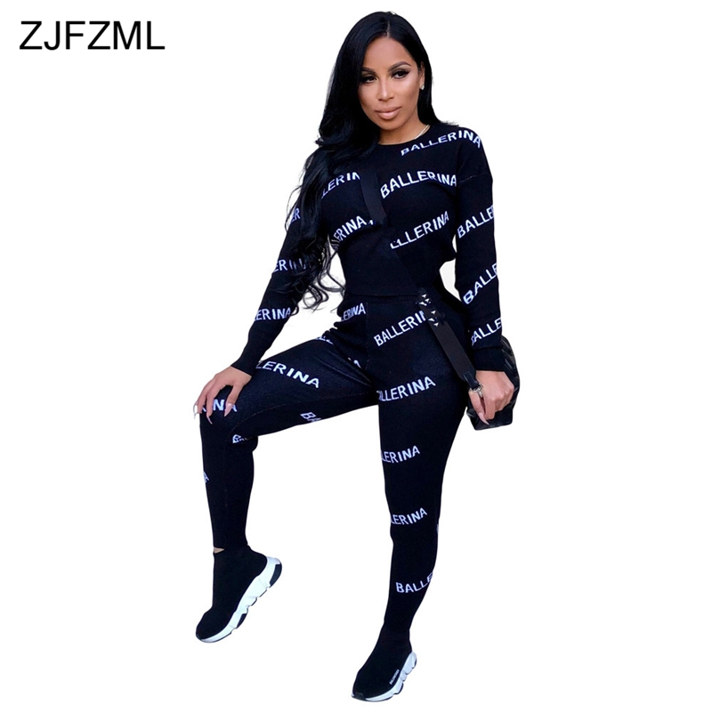Letter Print Casual Two Pieces Suits Spring Autumn Tracksuit O Neck Long Sleeve Top And Sporting Long Pants Streetwear Outfits