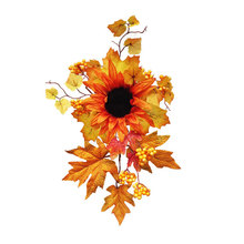 Christmas Artificial Sunflower Wreath DIY Autumn Fake Flower Heads Silk Maple Leaf Decorative Wall Hanging Plant For Home Decor