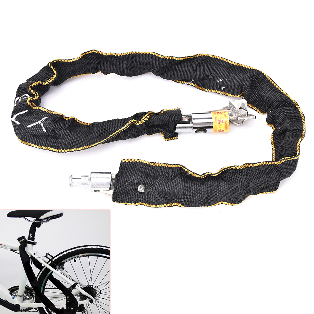 2Keys J JM Motorbike Scooter Bike Chain Pad Lock Security Iron Chain Inside