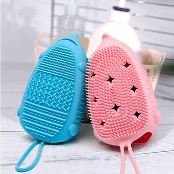 2PCS Silicone Bathroom Brush Children Adult Scrubbing Household Double-sided Bath With Hook Accessories LD203 - discount item  32% OFF Household Merchandises