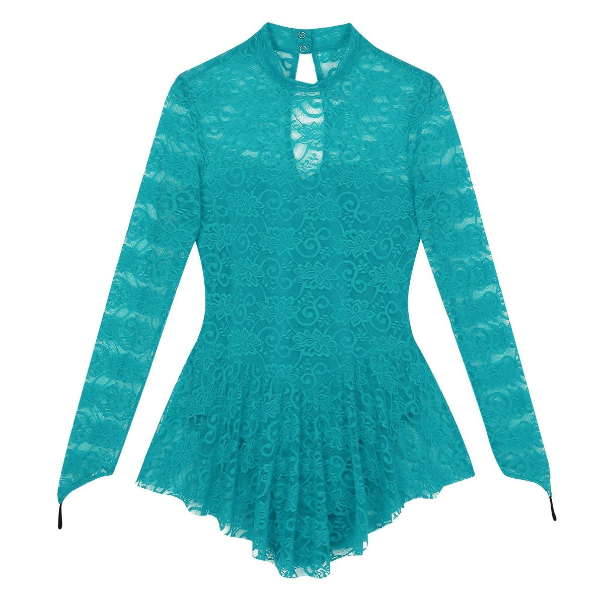 Image 3 - TiaoBug для взрослых с длинным рукавом мягкие кружевные балетные гимнастические леотарды женское платье конькобежное лирические танцевальные костюмыБалет    АлиЭкспресс