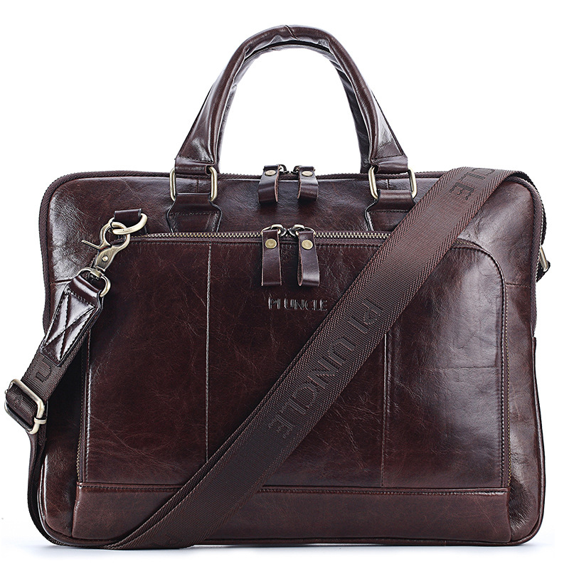 New Vintage Cow Genuine Leather Business Men's Briefcase Male Briefcase Shoulder Bag Men's Messenger Bag Tote Computer Handbag