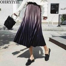 OHRYIYIE 2019 New Autumn Winter Fashion Velvet Pleated Skirt Women High Waist Gradient Color Midi Long Female Saias Faldas