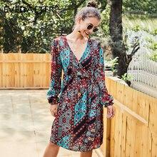 EVERAFTER Vintage chic chiffon multicolor print womens dress V-neck long sleeve ruffles buckle elegant female dresses vestidos