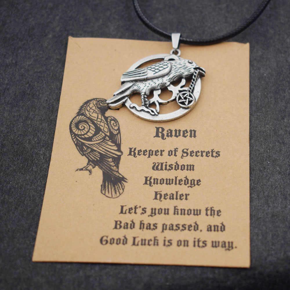 Raven Crow Necklace Wicca With Pentagram Talisman Sanlan