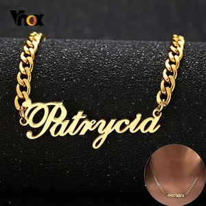 Vnox Name Necklace Personalized Customized Women Men Sweetheart Gifts Party Jewelry