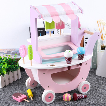 Baby Girl Wooden Pretend Play Simulation Ice Cream Cart Kids Girl Shopping Cart Toy Interactive Toys for Kids Birthday Gifts toddler walker baby boy and girl pretend play simulation shopping cart trolley wooden early education toy for kids birthday gift