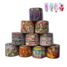10 рулонов фольги для ногтей с сухими цветами 4 см * 50 м