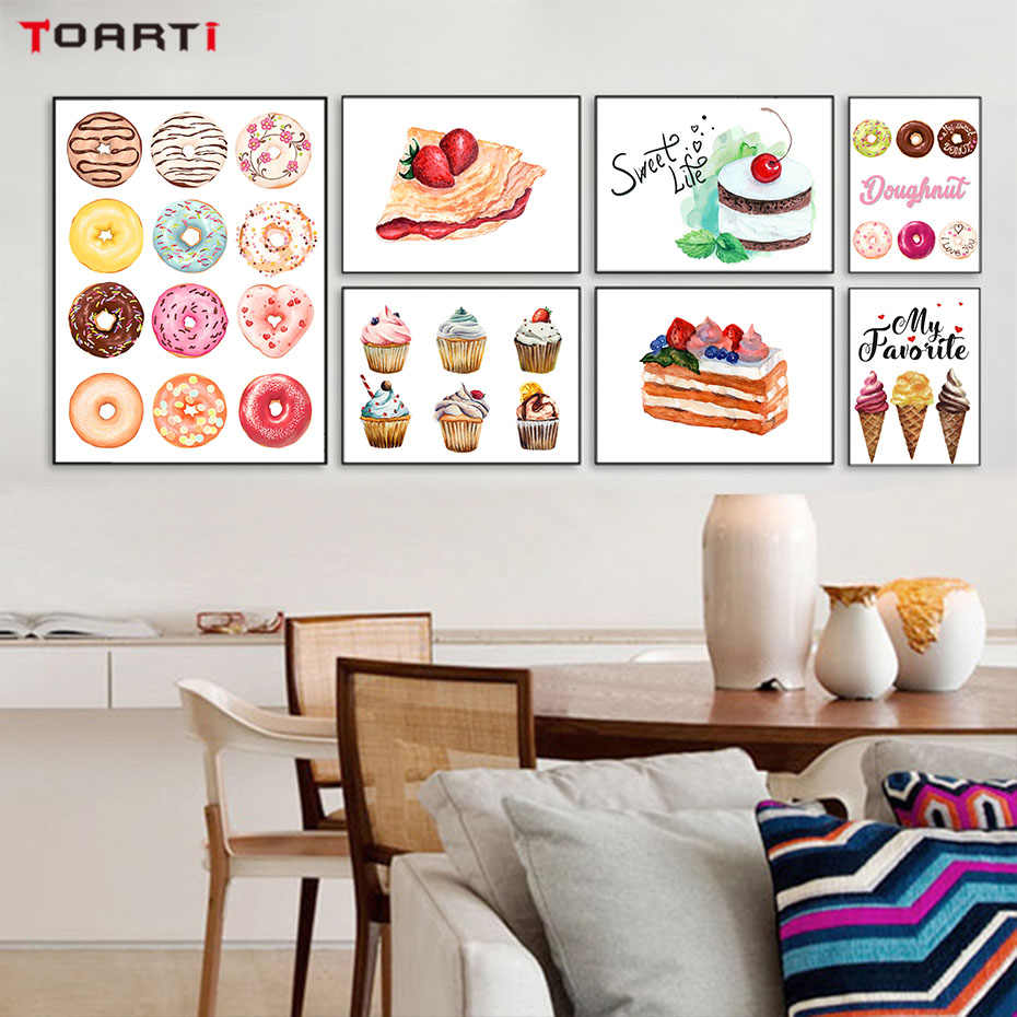 Delicious Cupcake Bread Canvas Painting Donut Wall Art Poster&Prints Modular Wall Picture For Kitchen Dining Room For wall Decor