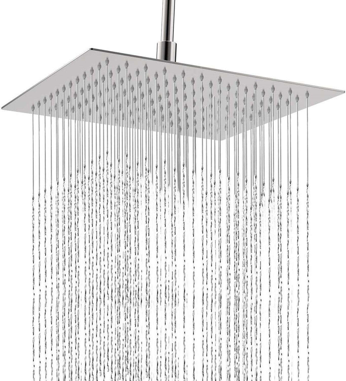 광장 욕실 스테인레스 스틸 비 샤워 헤드 강우량 12 인치 목욕 샤워 크롬 상단 분무기 고압 강우량 샤워