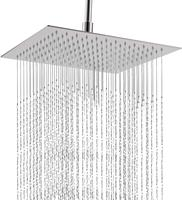 Square Bathroom Stainless Steel Rain Shower Head Rainfall 12 Inch Bath Shower Chrome Top Sprayer High Pressure Rainfall Shower