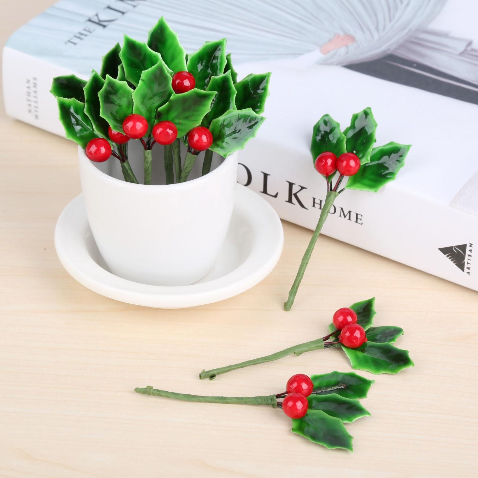 Искусственные ягоды, ветки, красная пена, вишня, маленькие фрукты с зелеными листьями, Свадебные Рождественские венки, поделки, украшение дл...
