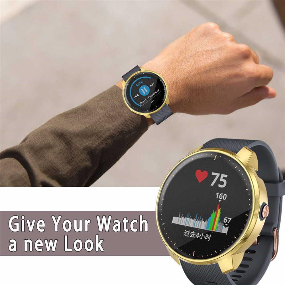 Funda de reloj electrochapada de lujo TPU funda protectora de silicona Anti arañazos película de pantalla para Garmin Vivoactive 3 música
