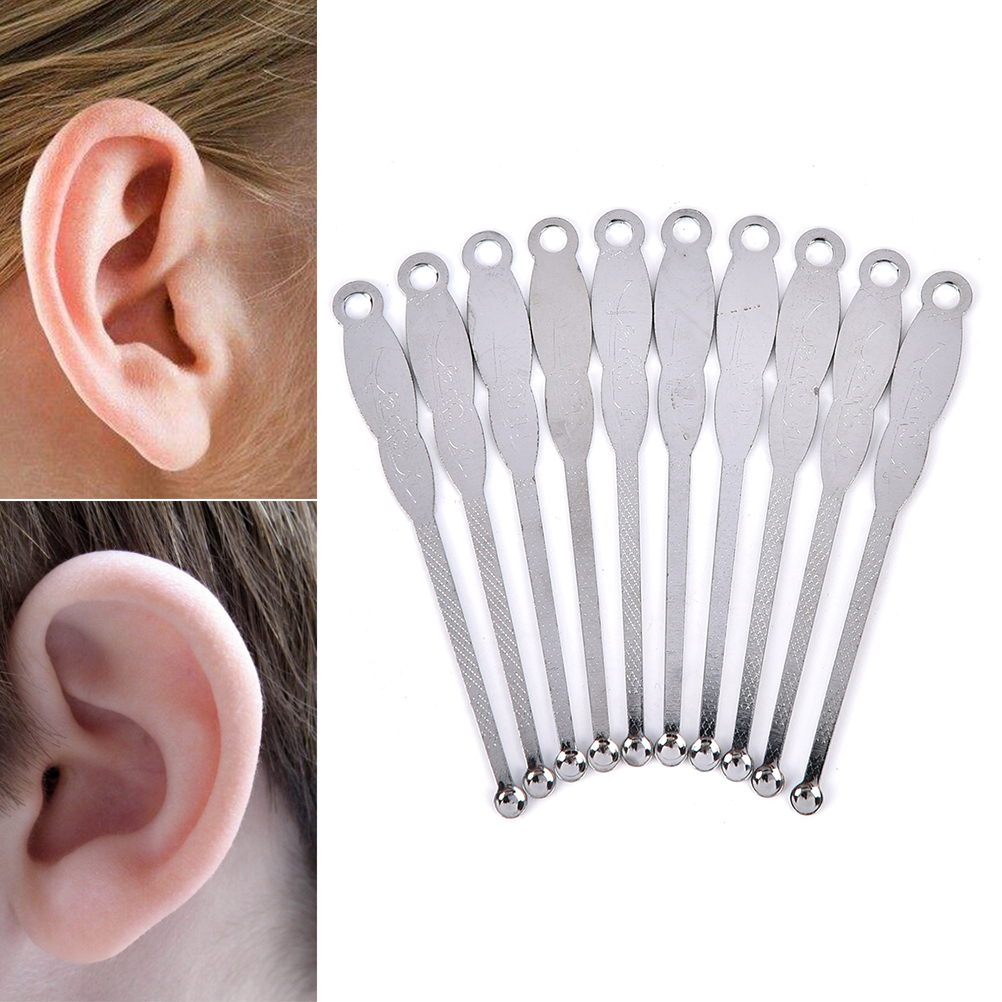 10 Pcs Stainless Steel Earpick Ear Pick handle Health Ear Cleaner Cleaning Earwax Remover Curette Care Tools
