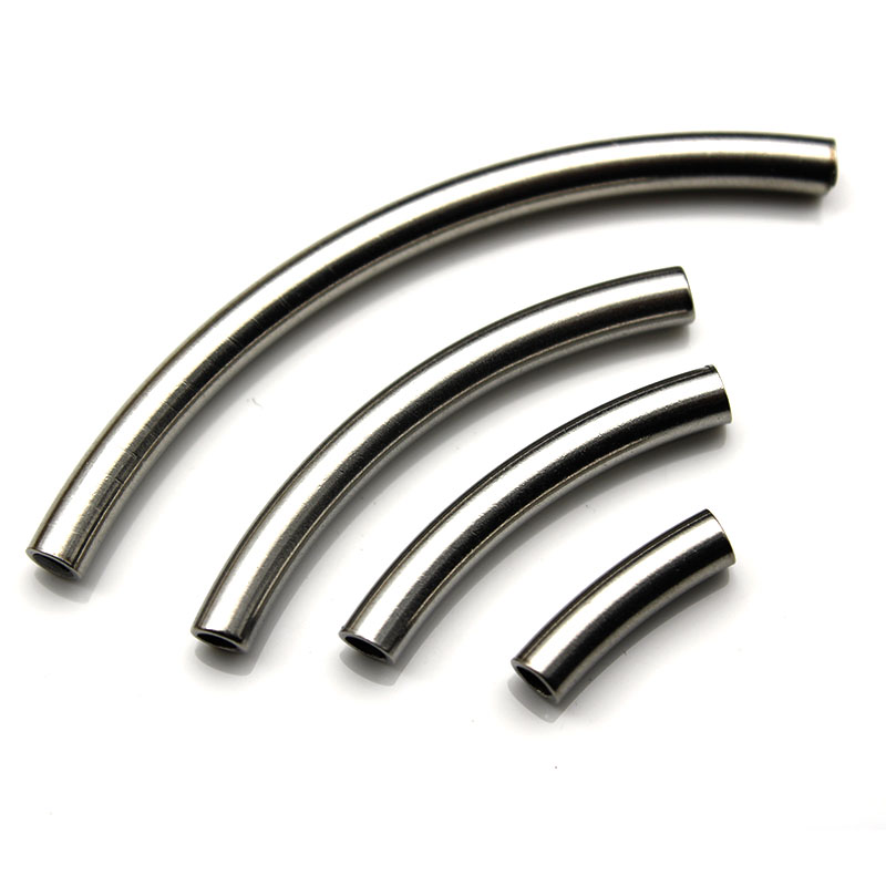 100 SP Smooth Curve Tube Spacer Beads Finding Crafts 2.5x30mm