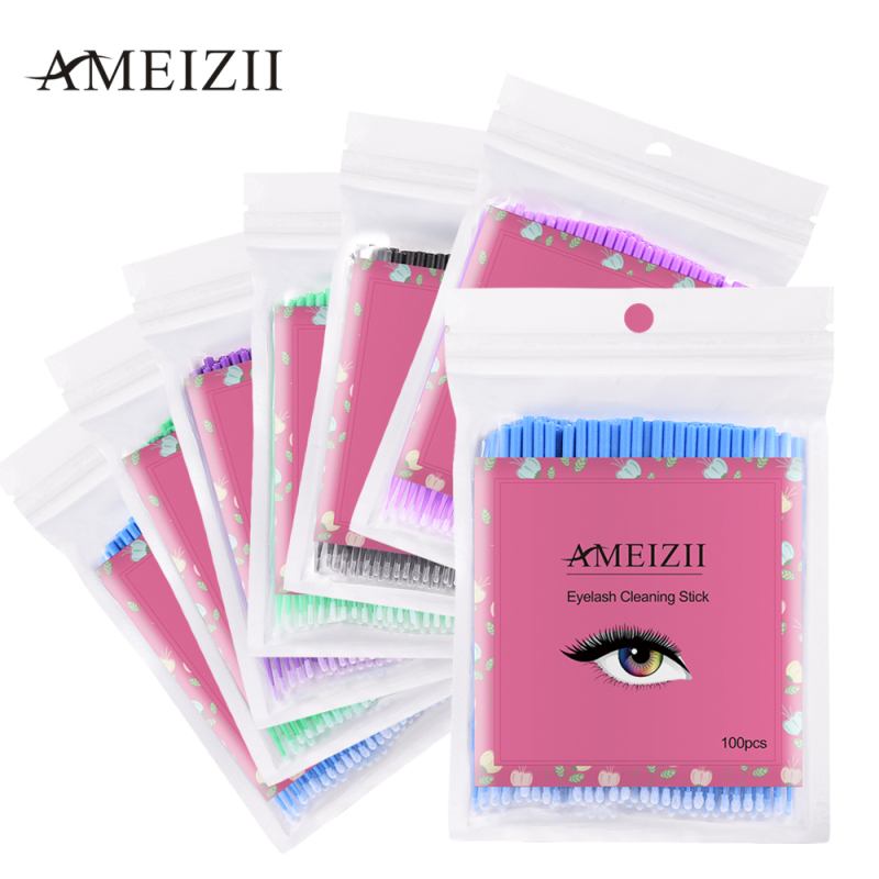 100pcs/bag Disposable Colorful Cotton Individual Applicators Mascara Removing Tools Eyelash Brushes Cleaning Swab Microbrush Kit