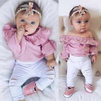 Adicionar cor Da Criança Do Bebê Macacão Bebê Menina Cobre Roupas Listradas Romper Rasgado Calças Roupas Conjunto de Roupas roupas infantis de menina
