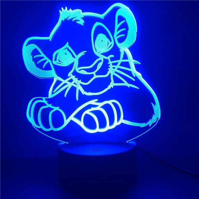 Nightlight Table-Lamp Simba-Figure Lion King Disney Touch-Sensor Bedroom Color-Changing