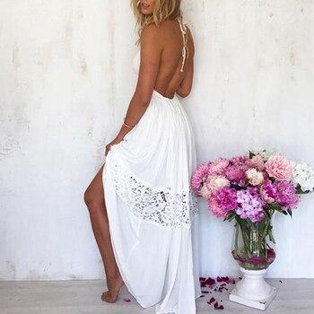 Sexy Women Long Beach Dress 2020 White Beach Tunic Swimsuit Bikini Lace Cover Up Beach Swimwear Plus Size XL Swim Dress Tunic