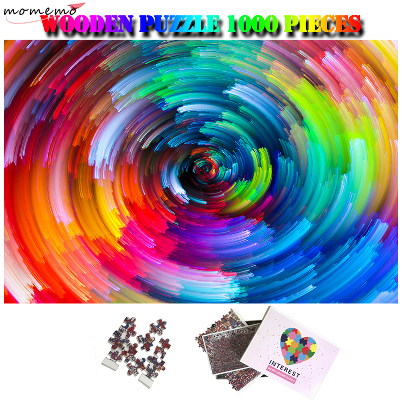 MOMEMO Rainbow Vortex 1000 Pieces Wooden Jigsaw Puzzles Beautiful Art Pattern Puzzle Games For Adults Kids Customized Puzzle Toy