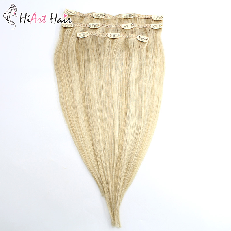 Hiart Hair-Extension Double-Drawn-Clip Clip-In Human Remy 140g 18-20-22-100%Real