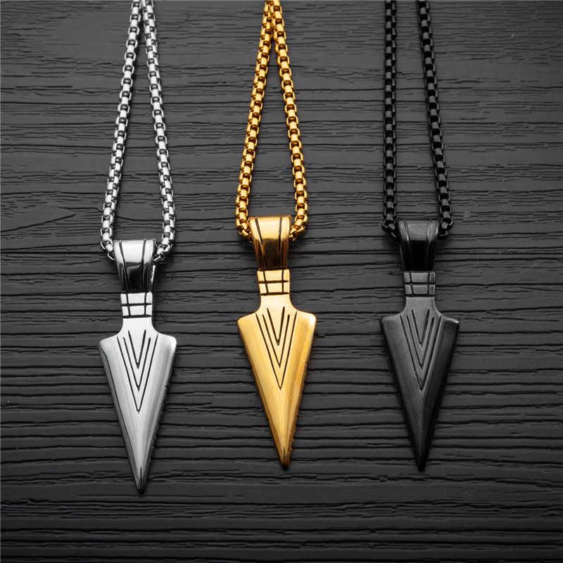 Męski modny naszyjnik 2019 kreatywna główka strzały łańcuszek z wisiorem uroczy choker męski modny biżuteria collier ketting collares naszyjnik