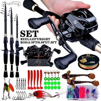 1.8-2.4m Telescopic Casting Fishing Combo Portable Ultralight Rod and 7.2:1 Gear Ratio Fishing Reel Fishing Combo 1