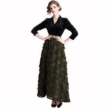 New Long Feather Tassels Velvet Women Dress Dresses Army Green 3538(China)
