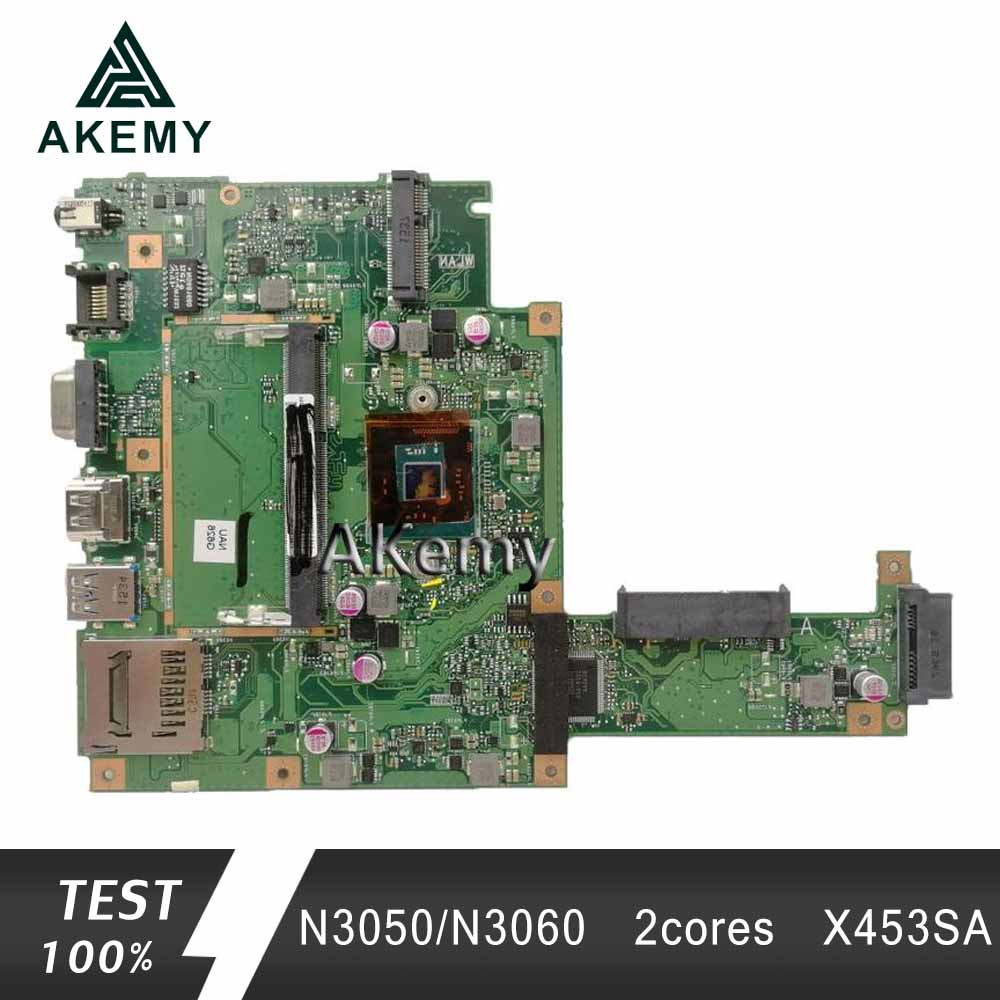 Akemy X453SA Laptop Motherboard For ASUS X453S X453SA X453 F453S Mainboard  Test 100% OK N3050/N3060  2 Cores