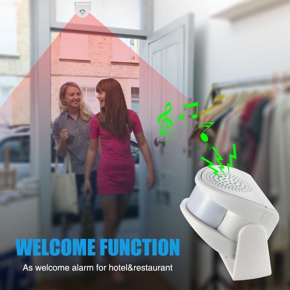 Купить с кэшбэком M5 door welcome White Pink Color home alarm Device Welcome Chime Wireless Infrared Motion Sensor Door bell Alarm